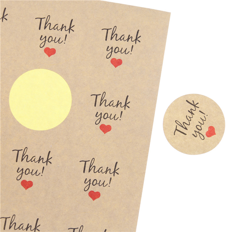 108 Pcs Red Love Thank You Self-adhesive Stickers Kraft Label Thank You Stickers Gifts Custom Round Labels Paper Bag цена