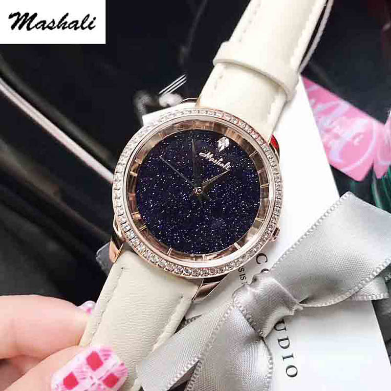 Mashali Brand Fashion Women Quartz-Watch Rhinestone Leather Casual Dress Watches Rose Gold Crystal Ladies clock relogio feminino