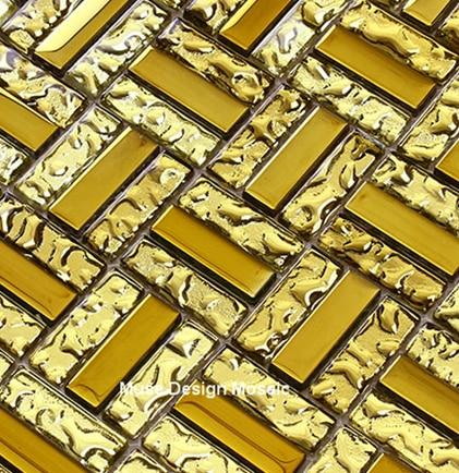 Luxus Überzogene Goldfolie Glas Mosaik Fliesen, Kamin Küche Backsplash Bad  Puzzle Wandaufkleber Wallpaper