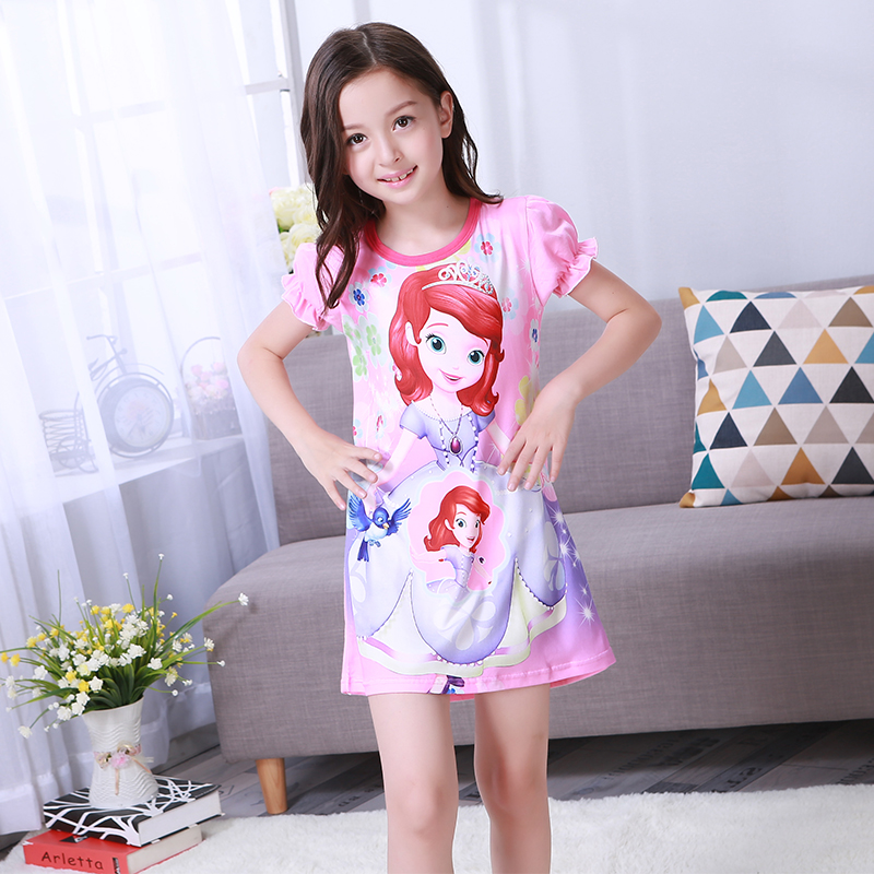 Dress Children Clothing Puff-Sleeve Baby-Girl Cartoon-Print Fashion 2-12years New Hot-Sale