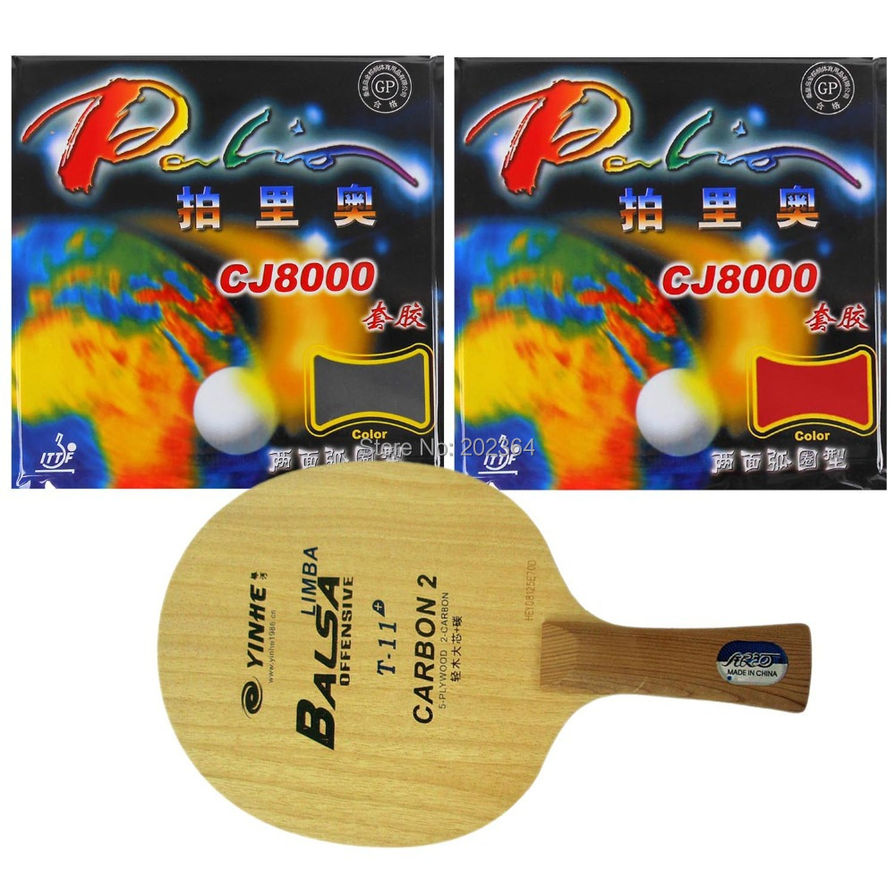 Galaxy YINHE T-11+ Table Tennis Blade with 2x Palio CJ8000 (2-Side Loop) Rubber With Sponge Racket Long shakehand FL palio tct table tennis blade with 2x cj8000 biotech rubber with sponge h40 42 for a ping pong racket long shakehand fl
