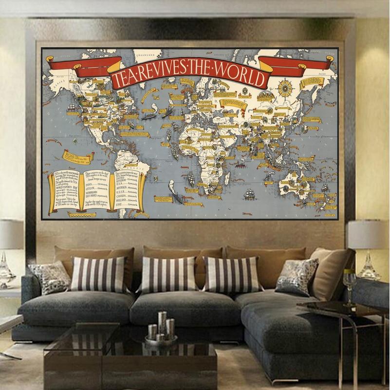 Viele Größe Die Belebt Die Weltkarte Wohnzimmer Gemälde Auf Leinwand ...