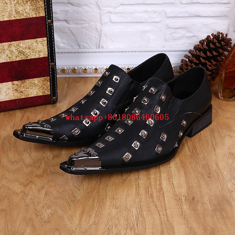 8a345bef51 Italian Shoes Sizes Designer Men Shoes Leather Moccasins Rivets Mens Black  And White Dress Shoes spike size46