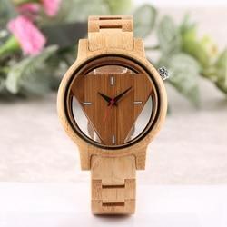 Wydrążony trójkąt bambusa mężczyźni drewniany zegarek Handmade pełna naturalne drewno kwarcowy na rękę analogowy Retro oryginalne drewno zegarek mody na co dzień