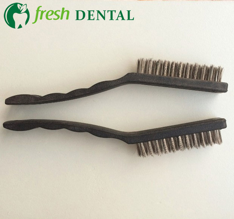 2pcs Dental Stainless Steel Wire Brush Plastic Handle Used