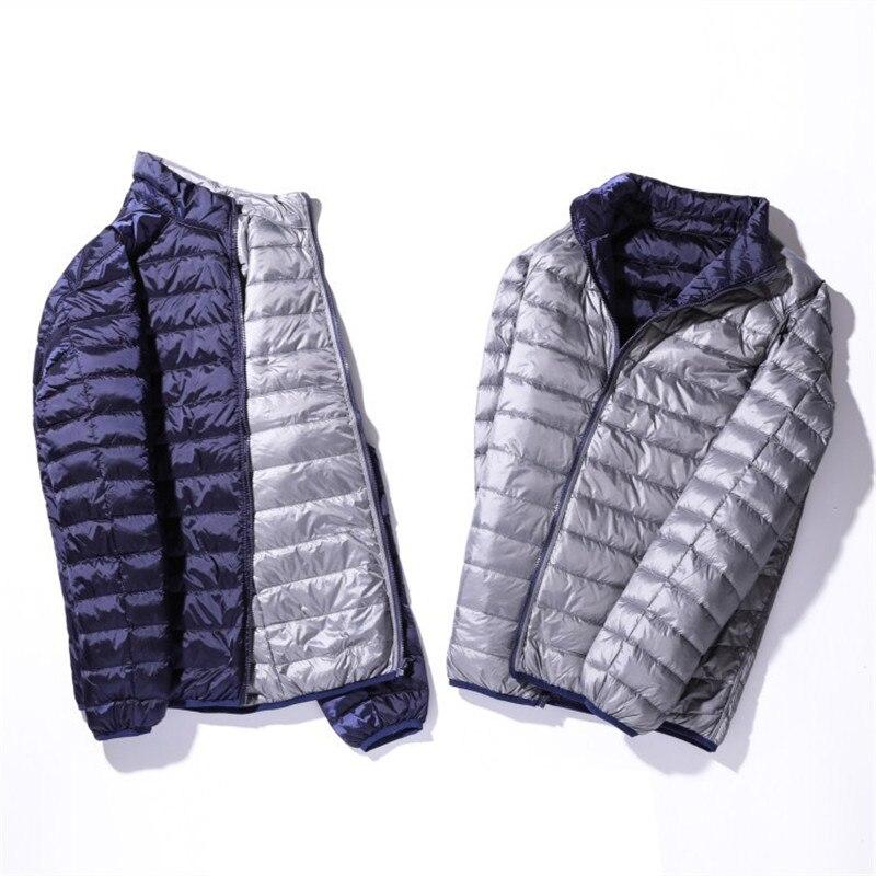 S-4XL Double   Coat   2018 Autumn Winter Men   Down   Jacket White Duck Ultra Light   Down     Coats   Parkas Male Short Outwear Plus Size A1081