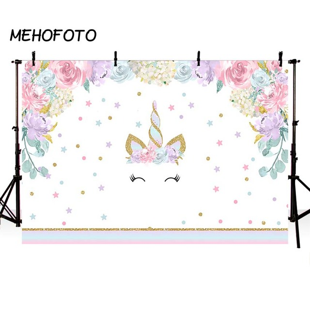 Unicorn Birthday Photo Backdrops Pink Floral Baby Shower Photography Backdrop Cake Table Party Decorations Studio Background
