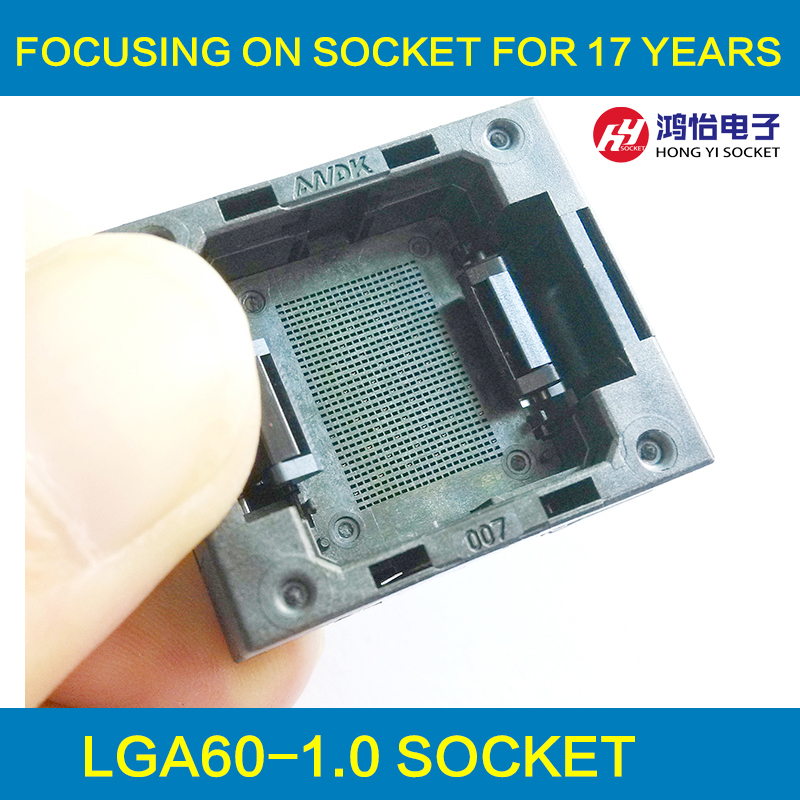 LGA60 Socket Open Top Structure IC Test Socket Burn-in Socket Size 14*18mm Programming Socket LGA Adapter Conversion Block gd32f103 gd32l103 stm32f stm32l lqfp64 ic test socket programming burn block