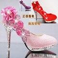 Осень и зима женская обувь на высоком каблуке свадебная обувь белый зеленый тонкий кристалл каблуки мелкая рот красные свадебные туфли