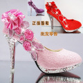 Autumn and winter women's shoes high heeled wedding shoes white green thin crystal heels shallow mouth red bridal shoes