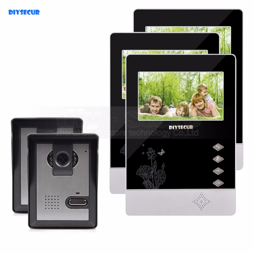 DIYSECUR 4.3 inch TFT LCD Indoor Monitor + 600 TVLine HD Camera IR Night Vision Video Door Phone Video Intercom 2V3