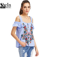 SheIn Thick Strap Botanical Embroidered Ruffle Sleeve Top Women Cold Shoulder Tops Blue Short Sleeve Summer