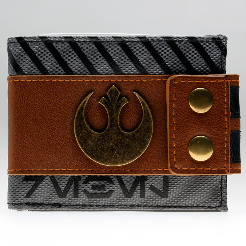 Star Wars Rogue One - Rebel Snap Bi-Fold Wallet with Metal Logo Badge 5 x 3in  DFT-1930 mens batman logo badge bifold wallet dft 1327