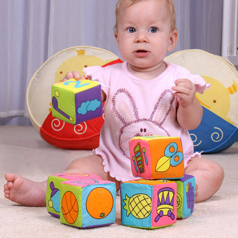 Hot 6 in 1 Set New Infant Baby Cloth Soft Rattle Building Blocks Educational Toys Baby Toy Soft Blocks Set Cube Cloth 15