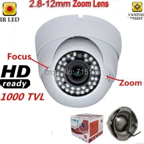 Varifocal 2.8-12mm HD CCD 1000TVL 36 IR Indoor Dome CCTV Security Camera