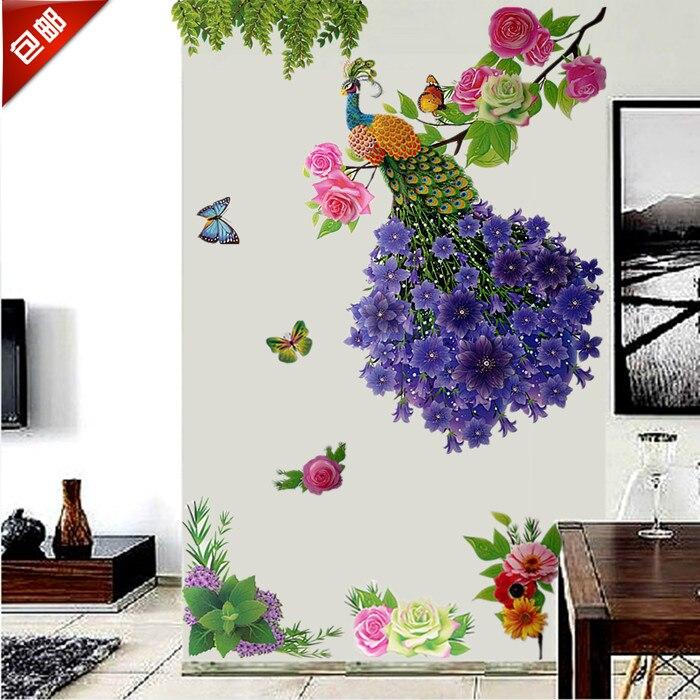 King Size Belle 3D En Trois Dimensions Stickers Muraux Paon Stickers Muraux Chambre Toile de Fond Affiches Autocollant Papier Peint