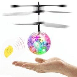 10 unids/pack colorido RC bola voladora incorporado brillante LED luz RC novedad Anti-estrés juguetes voladores Drone helicóptero bola para chico