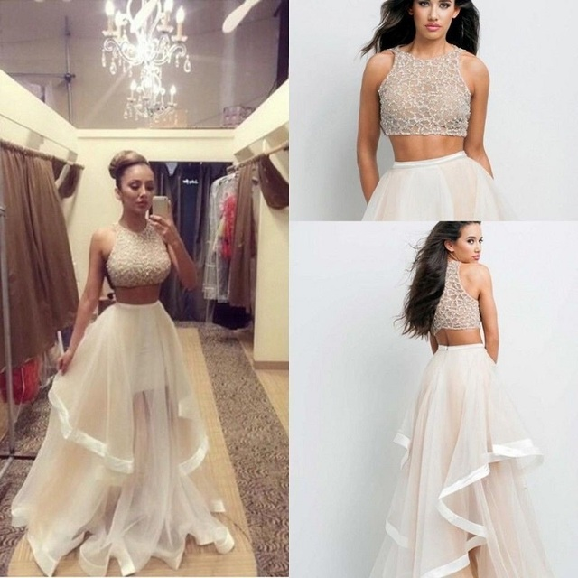 Champagne Two Piece Dresses 2016 Custom Made Prom Women Long Evening Party Dress SML