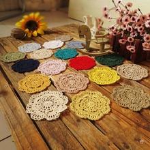 PD040 ZAKKA Handmade 12cm Round flower Lace Doilies Crochet Coaster Table Place mats cup mat 24pcs/Lot