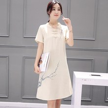Print Cotton Linen Dress 2019 Spring Summer National Style Short Sleeve Printing Slimming Mandarin Collar Dress crane print mandarin collar dress