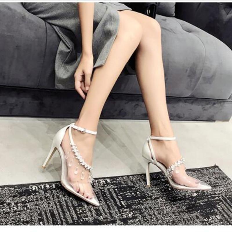 Mode Show Cendrillon Mariage Pointu Hauts Bout Pompes Cheville De Pour Pvc Clair En 2019 Talons Strass Boucle As Cristal Chaussures Femme Mariée xCtq0Pwf1