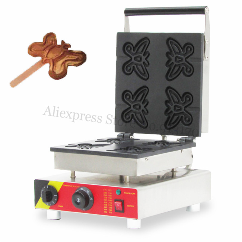 Electric Butterfly Waffle Machine Stainless Steel Lolly Waffle Baker 110V 220V 4pcs Molds Breakfast Snack Street cukyi household electric multi function cooker 220v stainless steel colorful stew cook steam machine 5 in 1