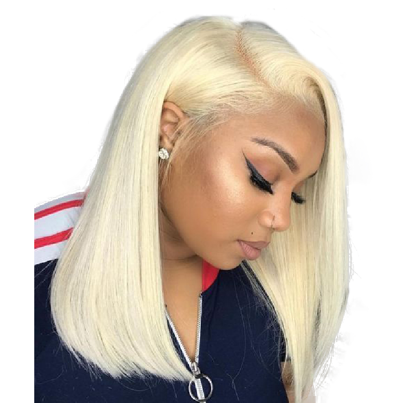 13x6 Short Bob 613 Blonde Lace Front Human Hair Wigs 150 Straight Colored Brazilian Lace Frontal