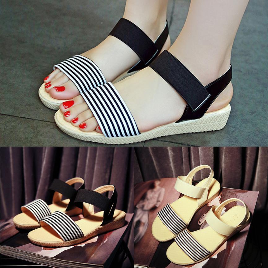 Fashion Women Flats Summer Hot Sale Sandals Female Stripe Flat Heel Anti Skidding Comfort Open Toe Beach Shoes Sandals Slippers 11