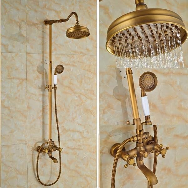 Wall Mounted Antique Brass Rain Shower Faucet 8 Sprayer Tub Spout Dual Cross Handles