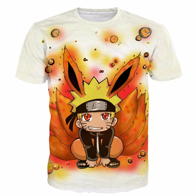 Милый Парень Курама Узумаки Наруто Наруто футболки Подростков Мужская Футболки женщины Hipster 3D майка Классический Аниме футболки Harajuku футболки