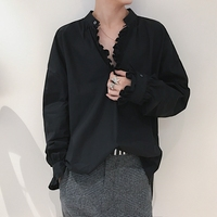 Fashion Floral Ruched V Neck Loose Casual Soft Men S Shirt Solid Color White Black Brand
