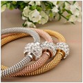 "19.5cm(7.67"")Fashion Cable Wire Chain Shiny Stone Women Girl Jewelry Stainless Steel Silver&Gold&Rose Gold Bracelet Bangle"