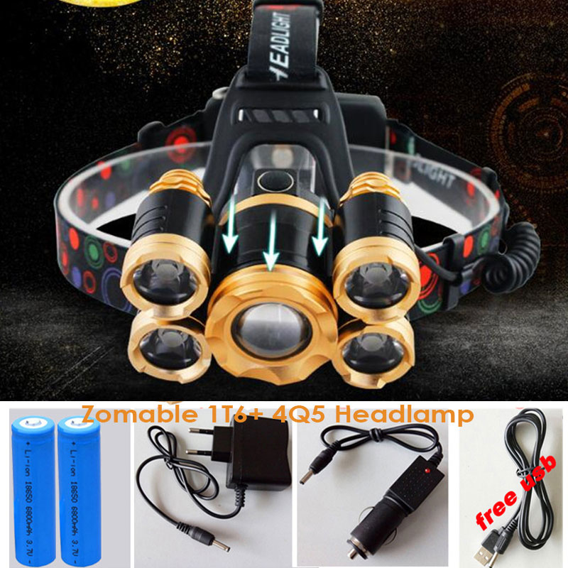 15000Lumens Powerful USB CREE 5 LED XML T6 Headlight Zoom Headlamp Rechargeable Fishing Light Outdoor