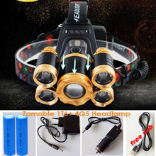 15000Lumens Powerful USB CREE 5*LED XML T6 Headlight Zoom Headlamp Rechargeable Fishing Light Outdoor Lighting+Battery+Charger