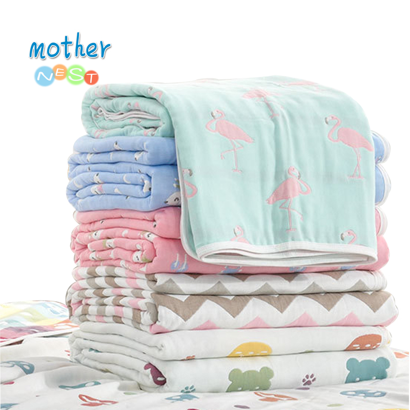 Muslin Baby Swaddle Blanket Baby Blanket 6 Layers Gauze Cotton Swaddle Newborn Baby Bath Towel Swaddle Blankets Multi Designs