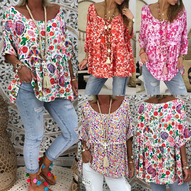 Women 2019 Summer Vintage Floral Print Boho Holiday   Blouse   Short Sleeve Loose   Shirt   Tops Plus Size