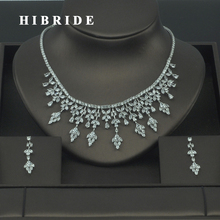 HIBRIDE High Quality Rhinestone Cubic Zirconia India Jewelry Sets For Women Bridal Dress Accessories Earring Necklace