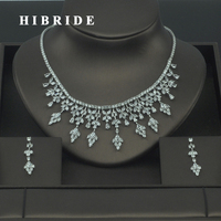 HIBRIDE High Quality Rhinestone Cubic Zirconia India Jewelry Sets For Women Bridal Dress Accessories Earring Necklace Sets N 311