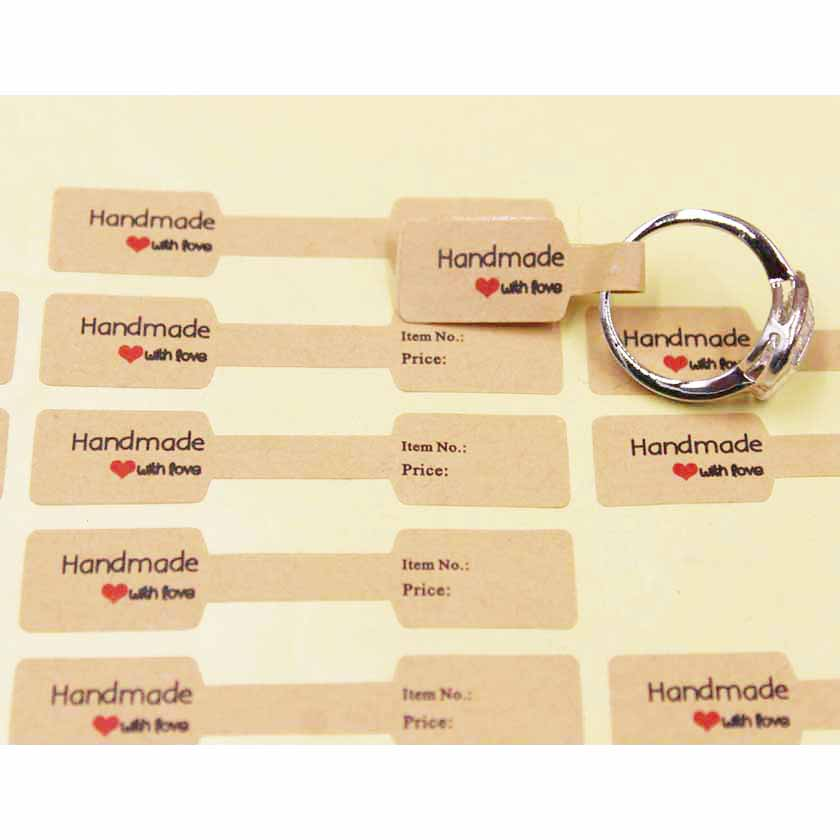 100PCS Multi Style Ring Folded Labels White/kraft Handmade With Love Ring Price Labels Jewelry Tag Sticker Labels 6*1.2cm