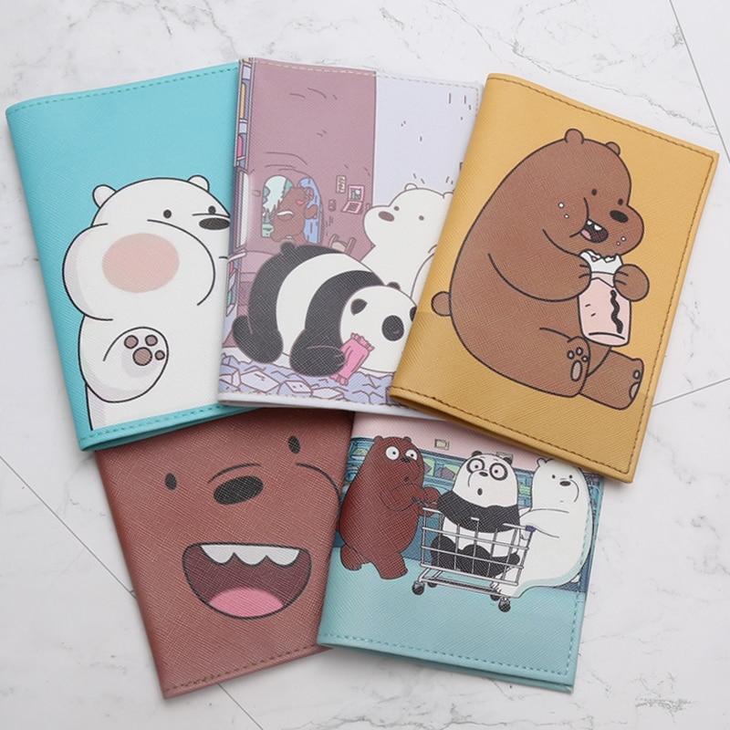 Cartoon We Bare Bears Passport Holder Men Leather Business Card Cover Women Credit Card Holder  Id Card Holder