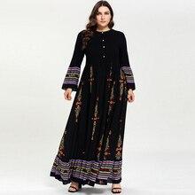 Women Black Ethnic Print Flare Sleeve Muslim Dress High Waist Button Big Hem Ramadan Arabic Dress Vestidos Plus Size M - 3XL 4XL все цены