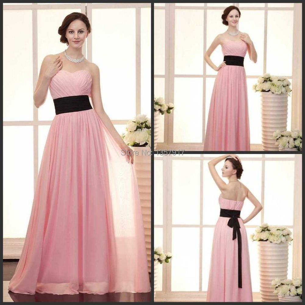 Online get cheap long black brides maid dresses aliexpress high quality hot pink flowy sweetheart black sash chiffon floor length long bridesmaid dress brides maid ombrellifo Choice Image