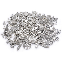 Wholesale 100Pcs MIXED Style Antique Silver European Bracelets Charm Pendants Jewelry Making Findings DIY Charms Handmade
