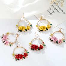 Women Earrings Artificial Flowers Cute Alloy Korean Style Geometric Pendant Jewelry Metal for Party Wholesale