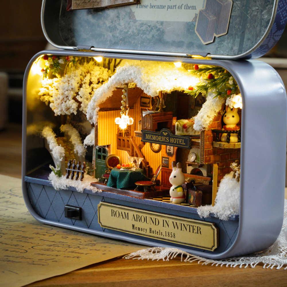Кукольный домик в зимнем деревянном домике головоломка в театре миниатюрный кукольный домик Рождественский подарок на день рождения игрушки для детей