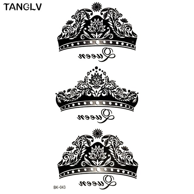 bk 043 waterproof temporary tattoo sexy black crown five pointed star design body painting. Black Bedroom Furniture Sets. Home Design Ideas