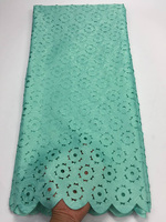 Free Shipping 5yards Pc Wholesales African Laser Cut Lace Fabric Mint Green Jacquard Lace Fabric For