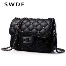 SWDF New Rivet Small Square Crossbody Bags Mini Women Handbag Lock Pu Leather Chain Shoulder Bag Woman Messeng Purse Sac