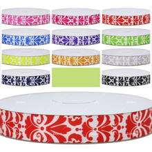 11 Choices Solid Color Damask Flower Patterns Printed Grosgrain Ribbons for Hair DIY Craft Party Decos Gift Packaging,100 Yards