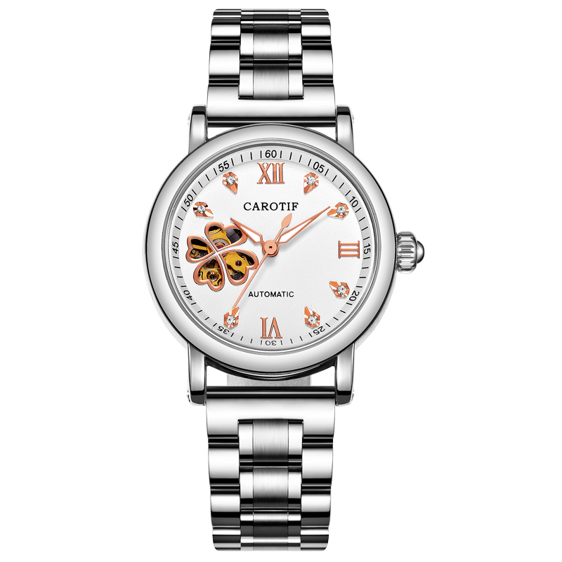 Moda mecánica automática relojes mujeres acero - Relojes para mujeres